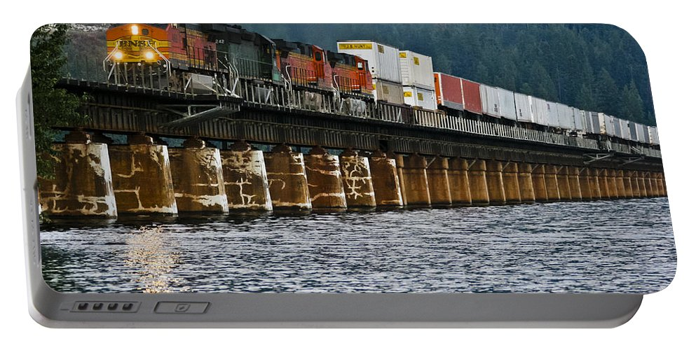 Train Portable Battery Charger featuring the photograph Northbound At Dusk by Albert Seger