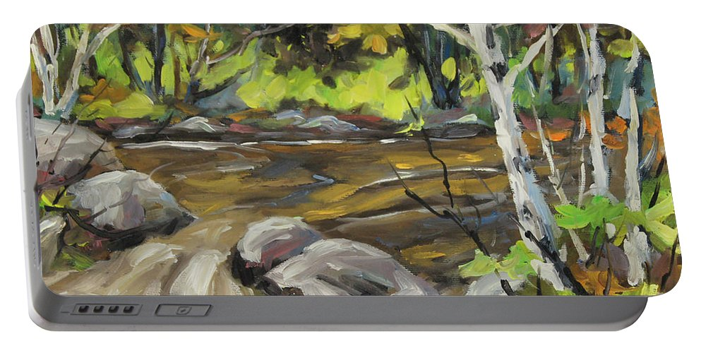 Northerm Stream Woodland Created By Richard T Pranke Portable Battery Charger featuring the painting Northerm Stream Woodland Created By Richard T Pranke by Richard T Pranke