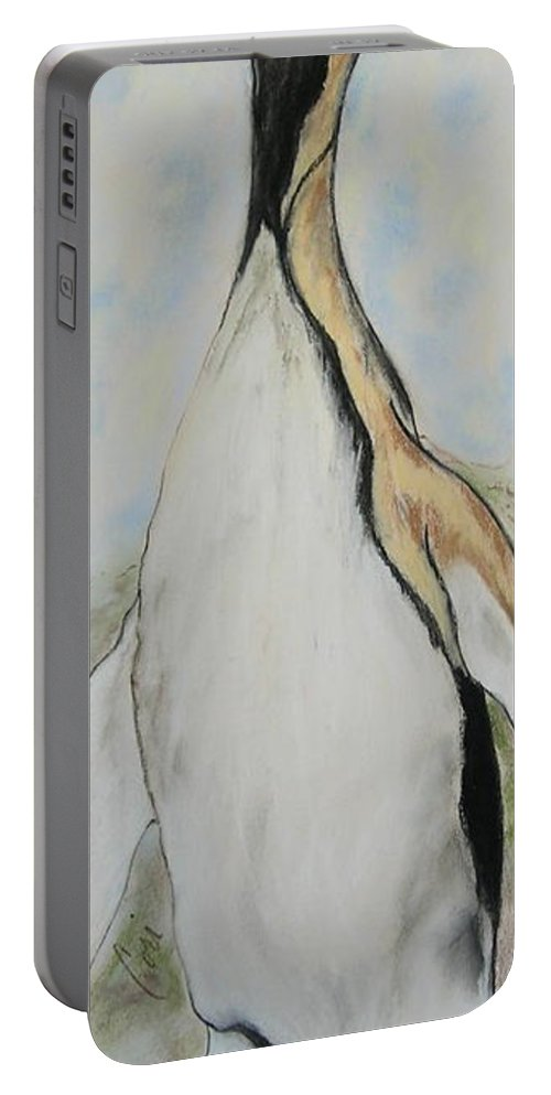 Penguin Portable Battery Charger featuring the drawing Northern Bliss by Cori Solomon