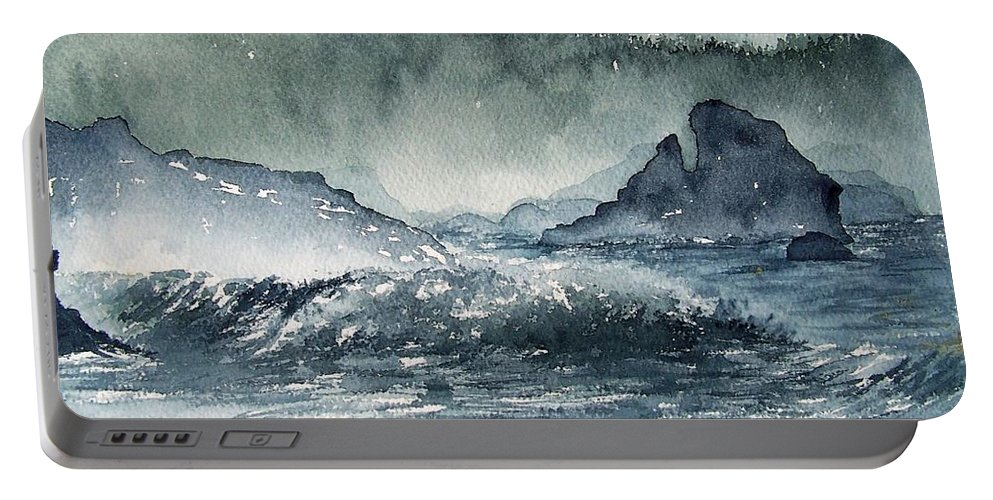 Ocean Portable Battery Charger featuring the painting Northern California Coast by Gale Cochran-Smith