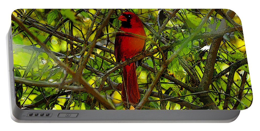 Art Portable Battery Charger featuring the painting Northern Cardinal Work Number Two by David Lee Thompson