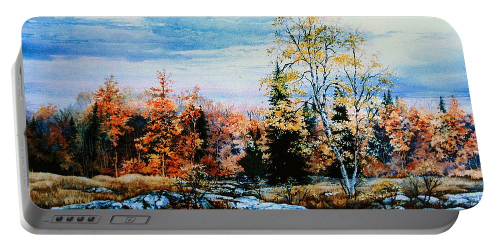 Northern Gold Painting Portable Battery Charger featuring the painting Northern Gold by Hanne Lore Koehler
