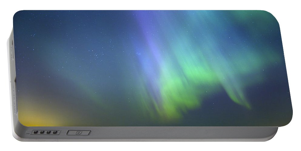 Astronomy Portable Battery Charger featuring the photograph Northern Lights Aurora Borealis In Estonia by Sandra Rugina