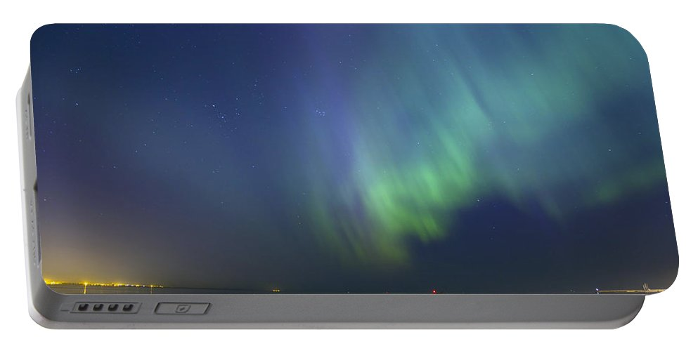 Astronomy Portable Battery Charger featuring the photograph Northern Lights Aurora Borealis Over Sea Northern Europe by Sandra Rugina
