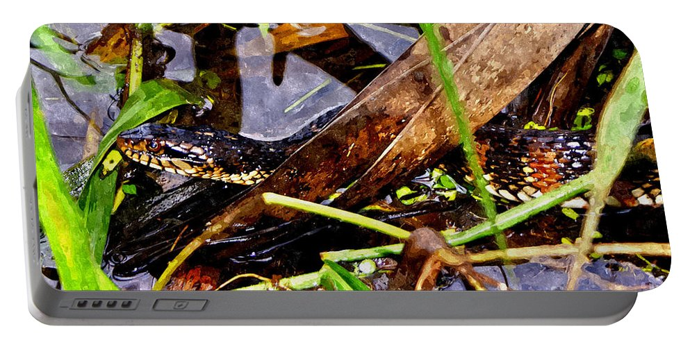 Snake Art Portable Battery Charger featuring the mixed media Northern Water Snake by Olga Hamilton
