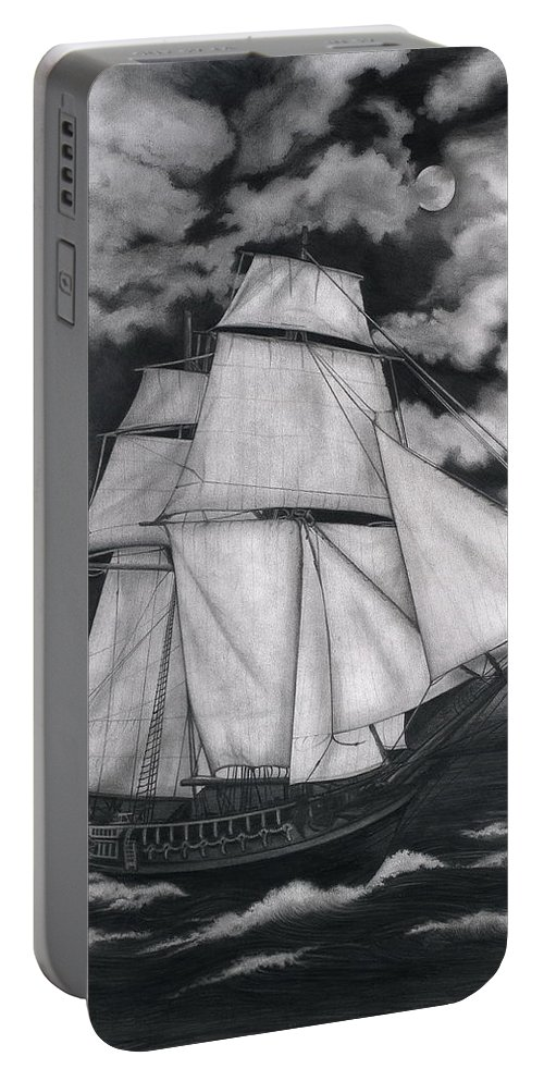 Ship Sailing Into The Northern Winds Portable Battery Charger featuring the drawing Northern Winds by Larry Lehman