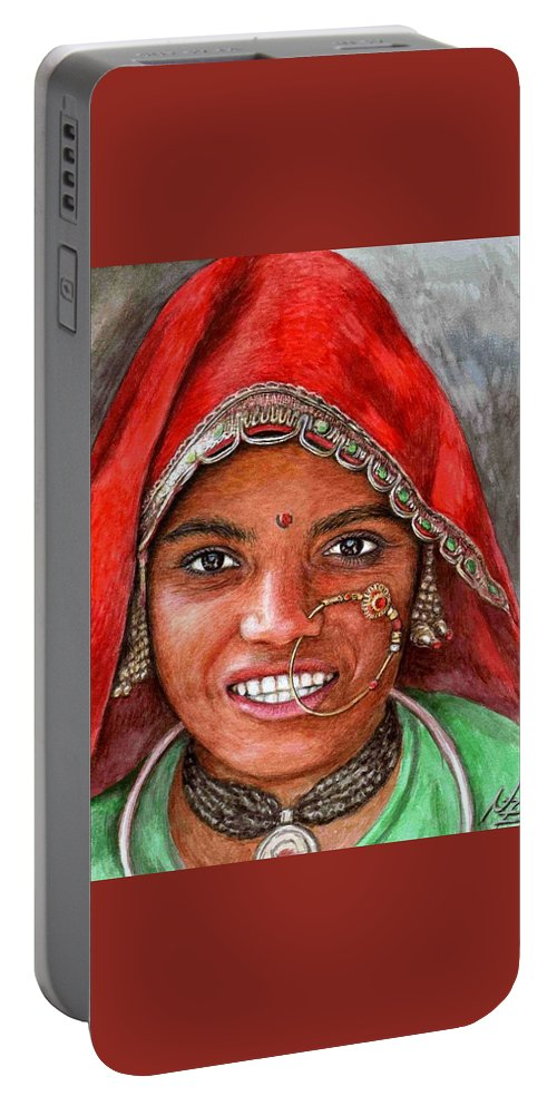 Woma Portable Battery Charger featuring the painting Northindian Woman by Nicole Zeug