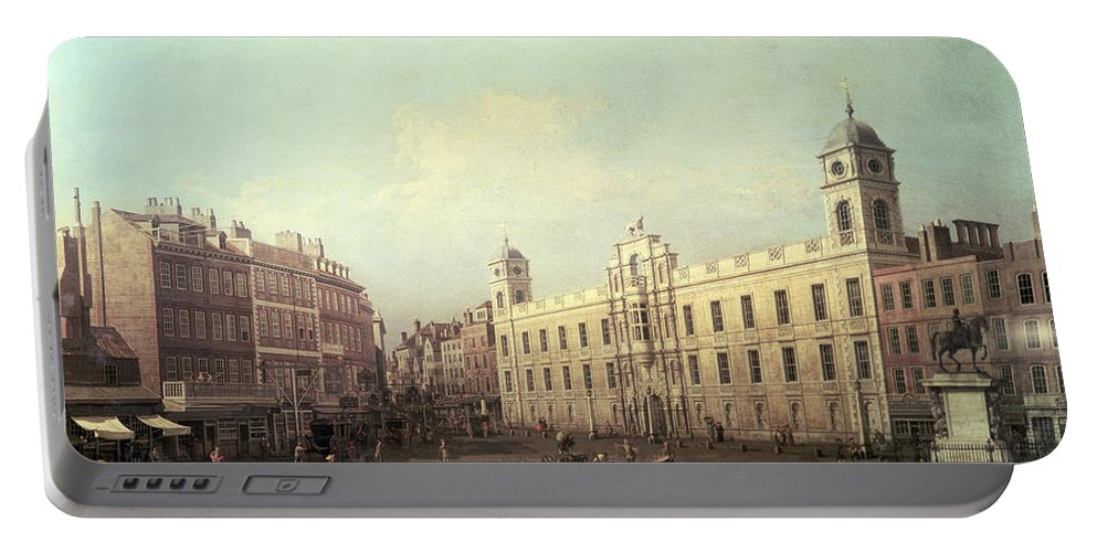 Northumberland House (oil On Canvas) By Canaletto (giovanni Antonio Canal) (1697-1768) Portable Battery Charger featuring the painting Northumberland House by Canaletto
