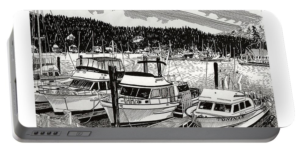 Yacht Portraits Portable Battery Charger featuring the drawing Gig Harbor Yacht Moorage by Jack Pumphrey