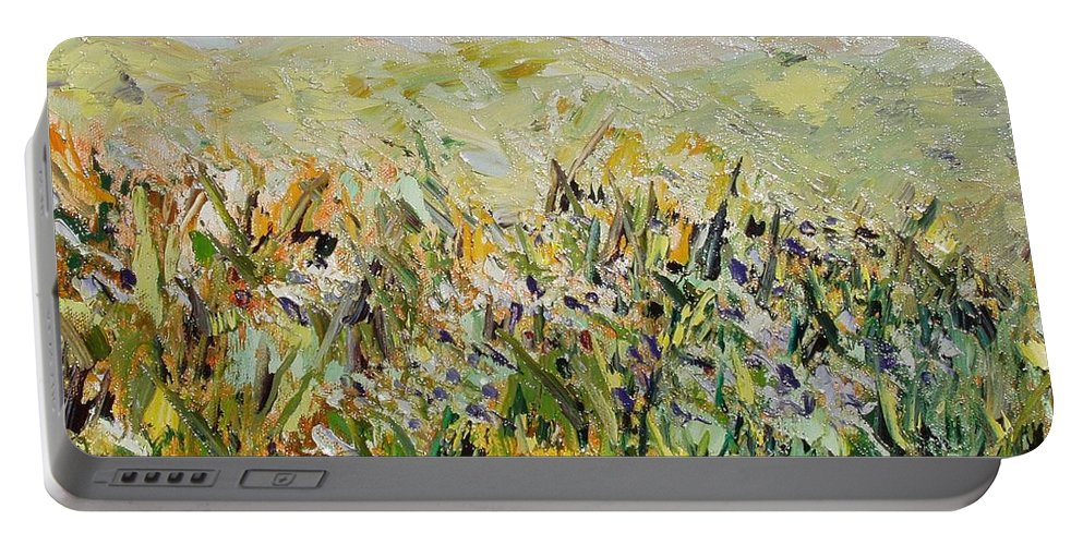 Field Paintings Portable Battery Charger featuring the painting Nose Hill by Seon-Jeong Kim