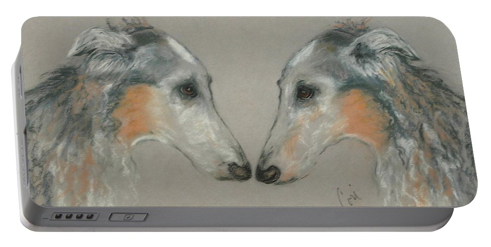 Dog Portable Battery Charger featuring the drawing Nose To Nose by Cori Solomon