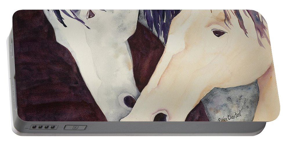 Horse Portable Battery Charger featuring the painting Nose To Nose II by Renee Chastant