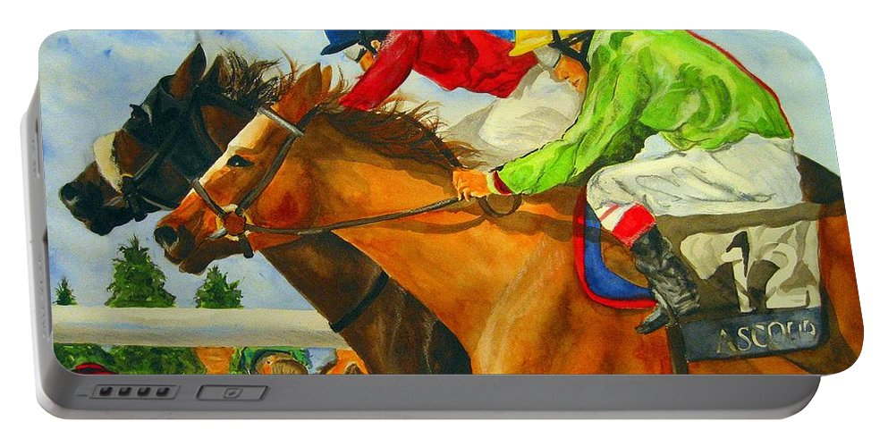 Horse Portable Battery Charger featuring the painting Nose to Nose by Jean Blackmer