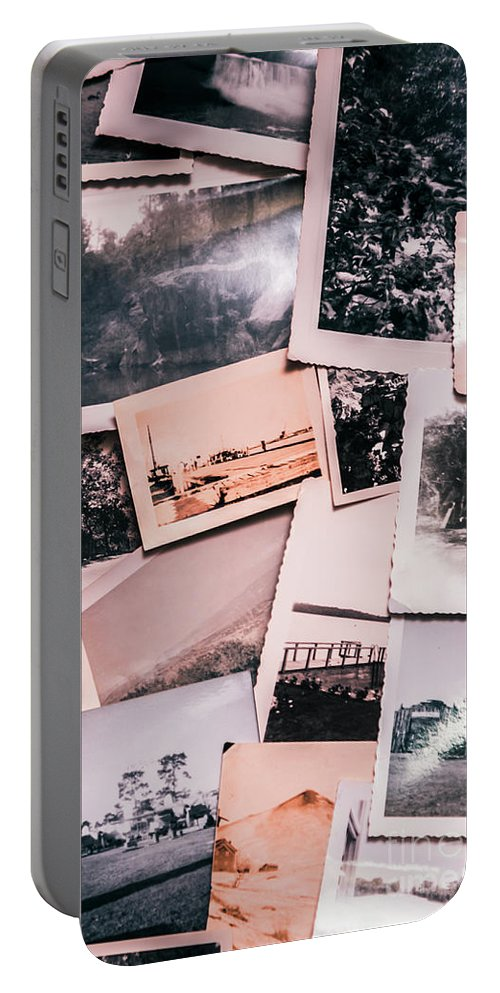 Photographs Portable Battery Charger featuring the photograph Nostalgic Photo Print Background Of A Collection Of Old Faded Sc by Jorgo Photography - Wall Art Gallery