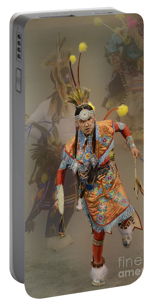 Pow Wow Portable Battery Charger featuring the photograph Pow Wow Not Alone by Bob Christopher