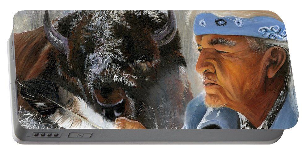 Southwest Art Portable Battery Charger featuring the painting Nothing Is Ever Forgotten by J W Baker