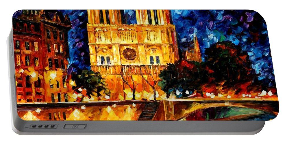 Afremov Portable Battery Charger featuring the painting Notre Dame De Paris by Leonid Afremov