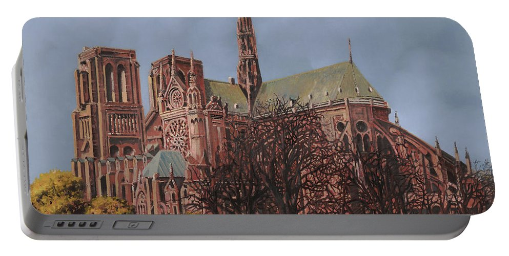 Paris Portable Battery Charger featuring the painting Notre-dame by Guido Borelli