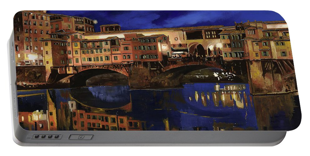 Firenze Portable Battery Charger featuring the painting Notturno Fiorentino by Guido Borelli