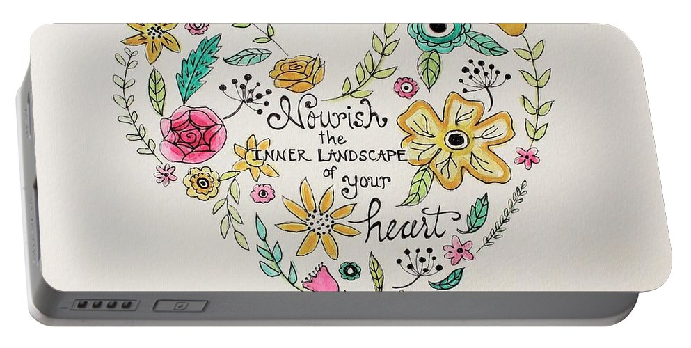 Nourish Portable Battery Charger featuring the painting Nourish by Elizabeth Robinette Tyndall