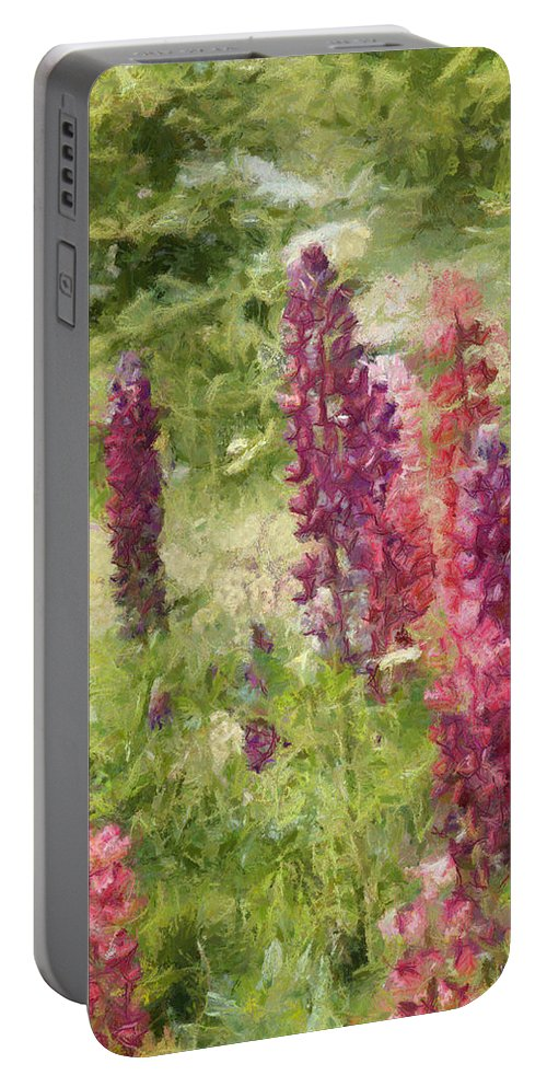 Nova Scotia Portable Battery Charger featuring the painting Nova Scotia Lupine Flowers by Jeffrey Kolker