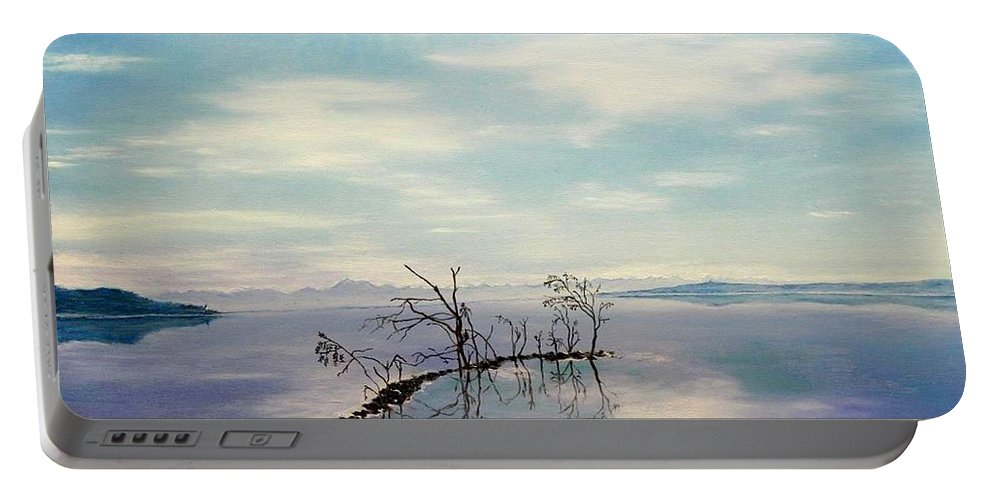 Late Novemeber In Bavaria Portable Battery Charger featuring the painting November on a bavarian lake by Helmut Rottler
