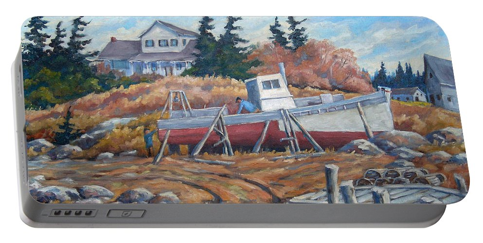 Boat Portable Battery Charger featuring the painting Novia Scotia by Richard T Pranke