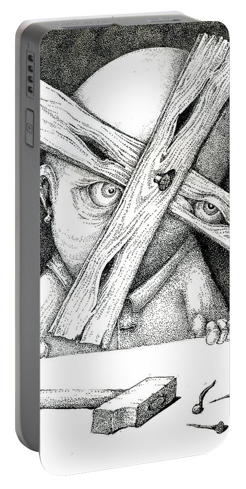 Surrealism Portable Battery Charger featuring the painting Now I'm Free To Have Any Point Of View by Sergei Mordas