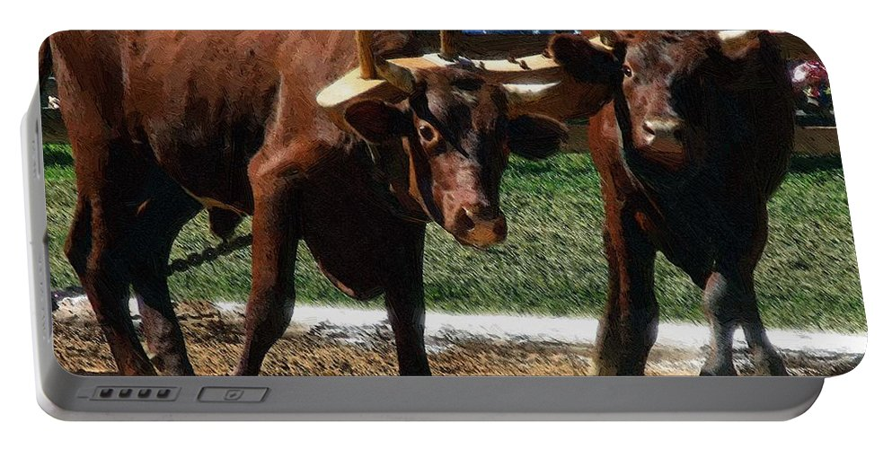 Oxen Portable Battery Charger featuring the painting Now What by RC DeWinter