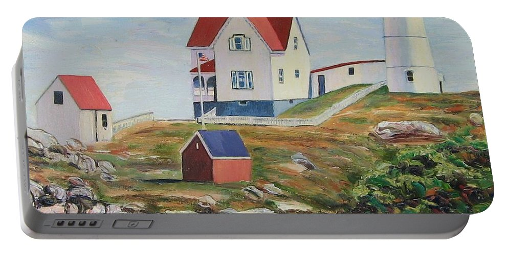 Nubble Light House Portable Battery Charger featuring the painting Nubble Light House Maine by Richard Nowak