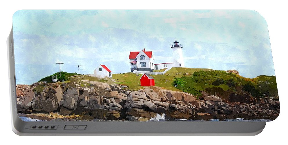 Clouds Portable Battery Charger featuring the photograph Nubble Light Nlwc by Jim Brage