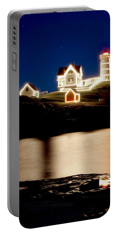 Lighthouse Portable Battery Charger featuring the photograph Nubble Stars by Greg Fortier