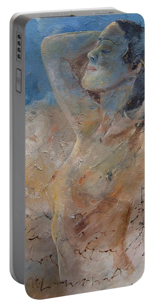 Nude Portable Battery Charger featuring the painting Nude 0508 by Pol Ledent
