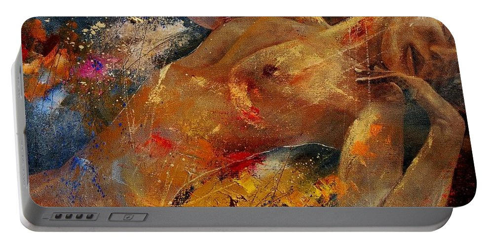 Nude Portable Battery Charger featuring the painting Nude 0604 by Pol Ledent