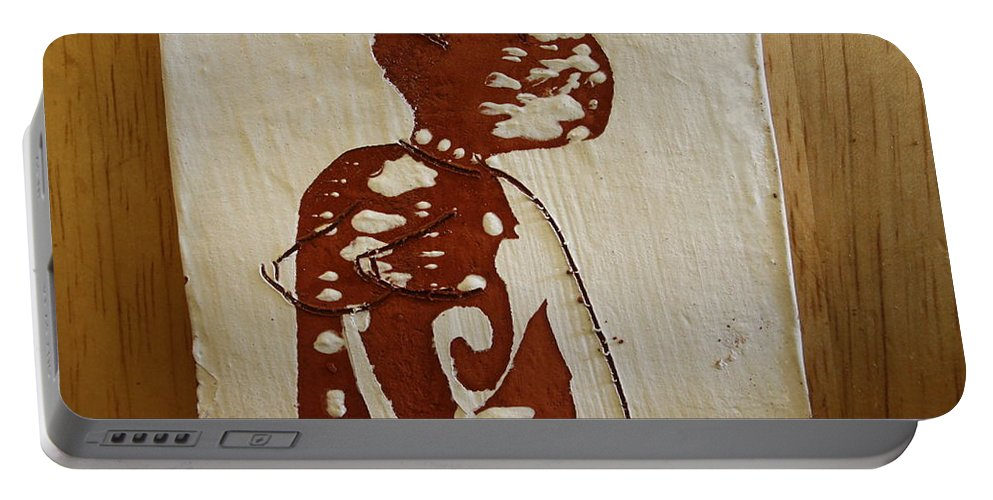 Jesus Portable Battery Charger featuring the ceramic art Nude 1 by Gloria Ssali