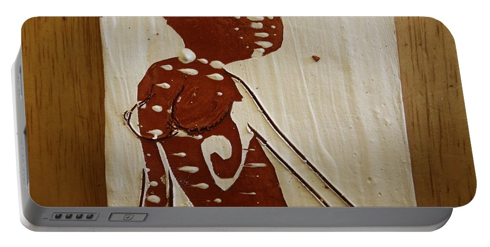Jesus Portable Battery Charger featuring the ceramic art Nude 13 - Tile by Gloria Ssali