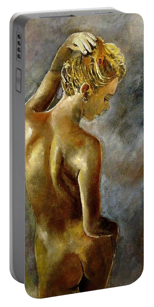 Girl Nude Portable Battery Charger featuring the painting Nude 27 by Pol Ledent