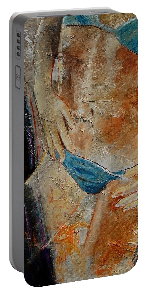 Girl Nude Portable Battery Charger featuring the painting Nude 450608 by Pol Ledent