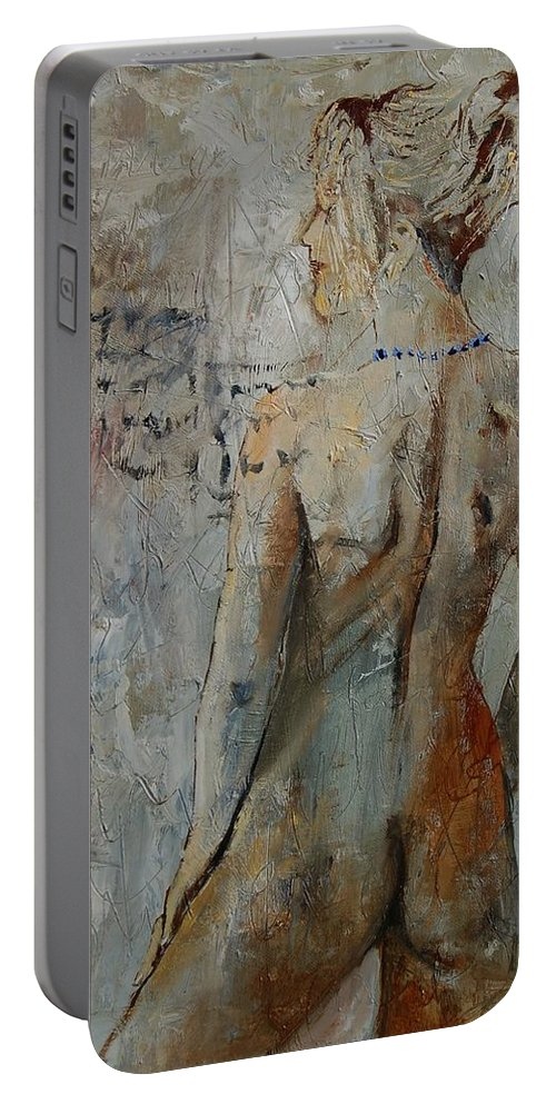 Girl Portable Battery Charger featuring the painting Nude 459020 by Pol Ledent