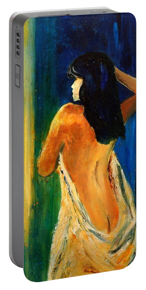 Girl Portable Battery Charger featuring the painting Nude 459070 by Pol Ledent