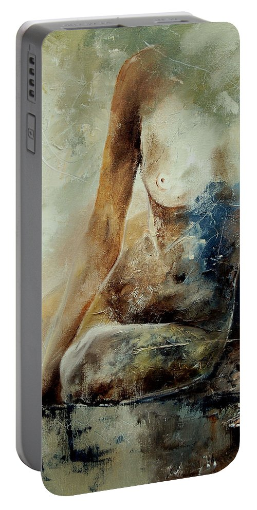 Nude Portable Battery Charger featuring the painting Nude 560408 by Pol Ledent