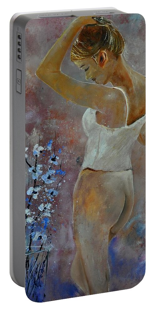 Nude Portable Battery Charger featuring the painting Nude 570121 by Pol Ledent
