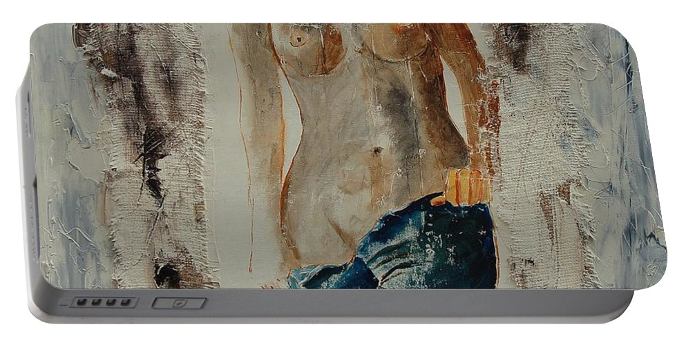 Girl Portable Battery Charger featuring the painting Nude 674521 by Pol Ledent