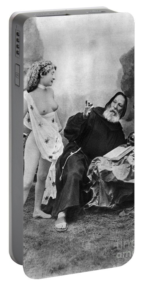 1895 Portable Battery Charger featuring the photograph Nude And Monk, C1895 by Granger