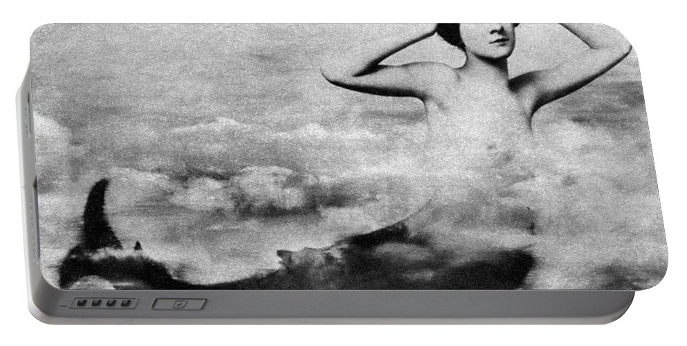 1890s Portable Battery Charger featuring the photograph Nude As Mermaid, 1890s by Granger