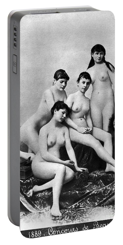 1889 Portable Battery Charger featuring the photograph Nude Group, 1889 by Granger