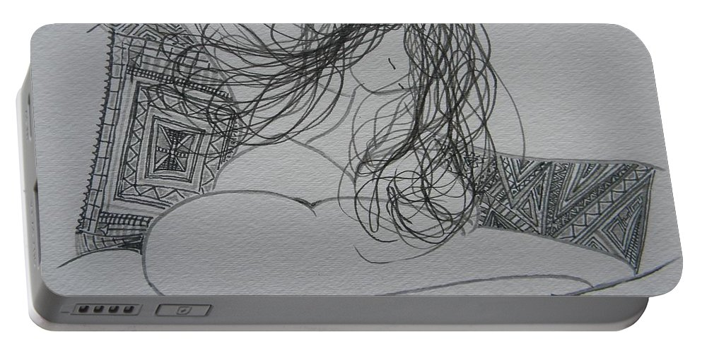 Marwan Portable Battery Charger featuring the drawing Nude I by Marwan George Khoury