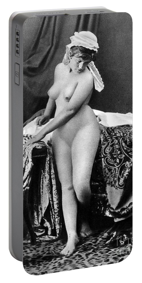 1885 Portable Battery Charger featuring the photograph Nude In Bonnet, C1885 by Granger