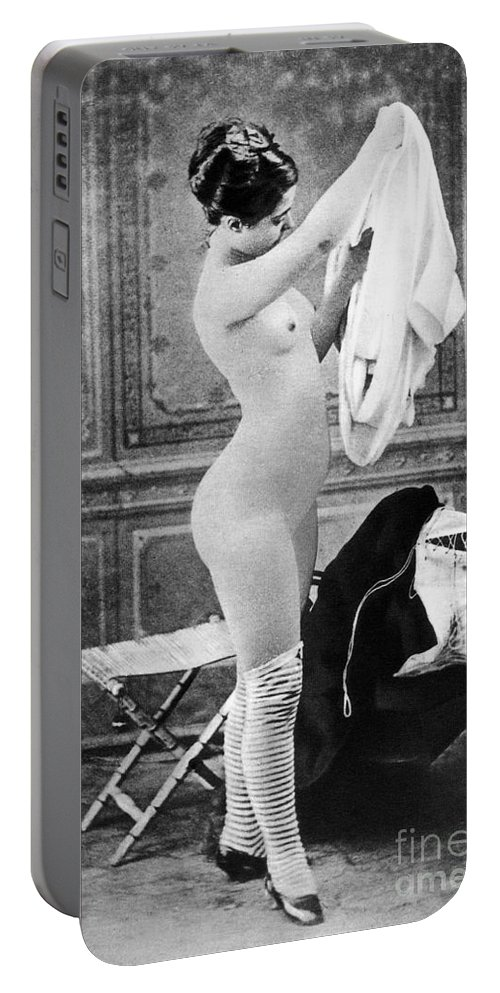 1880 Portable Battery Charger featuring the photograph Nude In Stockings, C1880 by Granger