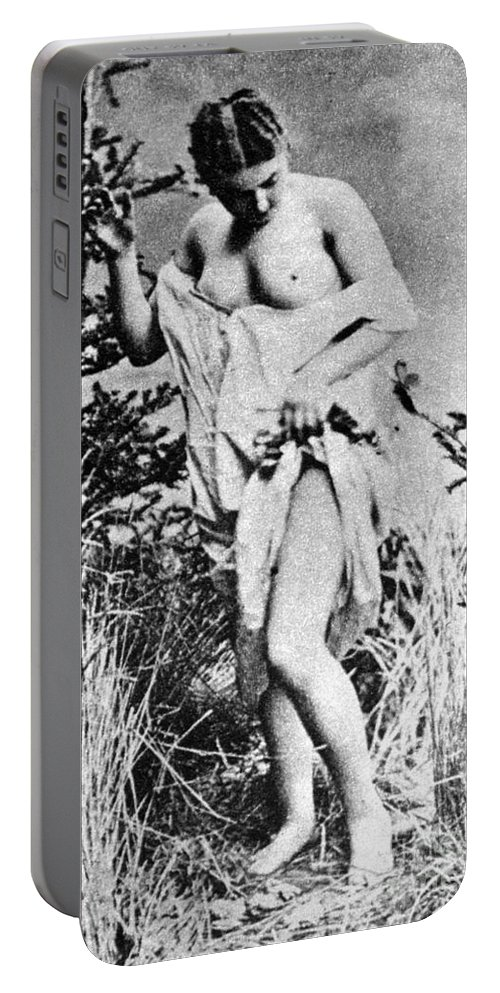 19th Century Portable Battery Charger featuring the photograph Nude In Wilderness by Granger